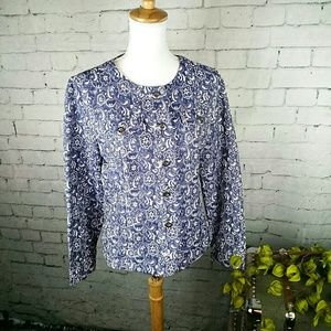 NWT Christopher &Banks Blue and Wht. Jacquard jckt
